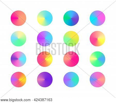 Pastel Trendy Radial Conical Gradient Set. Collection Of Colorful Gradient Circles. Vector Vivid Col