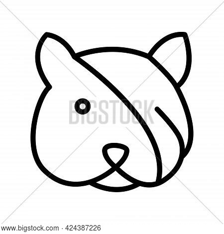 Cat With Bandage Line Icon. Sick Cat With Bandage On A Head Simple Vector Illustration. Outline Sign