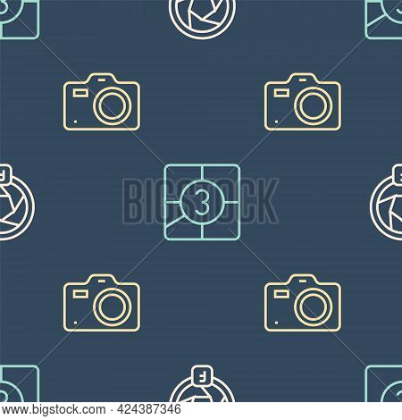 Set Line Camera Shutter, Photo Camera And Old Film Movie Countdown Frame On Seamless Pattern. Vector