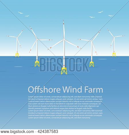Wind Turbines At The Sea. Wind Towers In The Ocean. Offshore Wind Turbine Farm Concept. Poster Templ