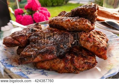 Grilled Meat Steaks. Healthy Food. Protein Food. Treat For Guests. Dinner For The Whole Family. High