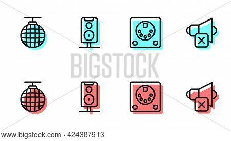 Set Line Drum Machine, Disco Ball, Stereo Speaker And Speaker Mute Icon. Vector