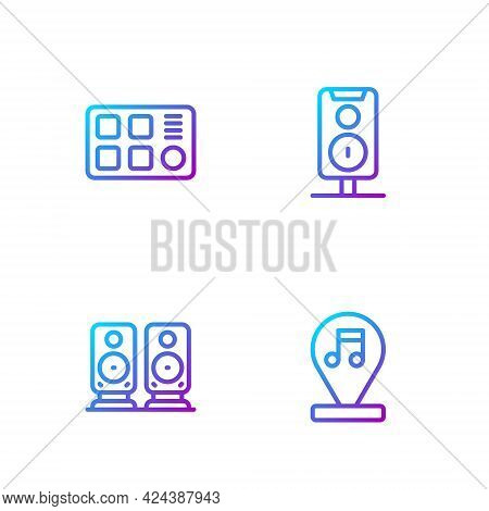 Set Line Music Note, Tone, Stereo Speaker, Drum Machine And . Gradient Color Icons. Vector