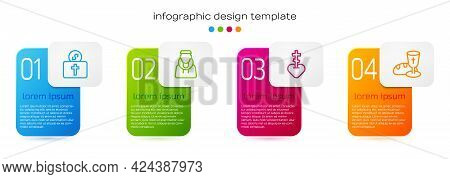 Set Line Donation For Church, Monk, Religious Cross In Heart And Goblet And Bread. Business Infograp