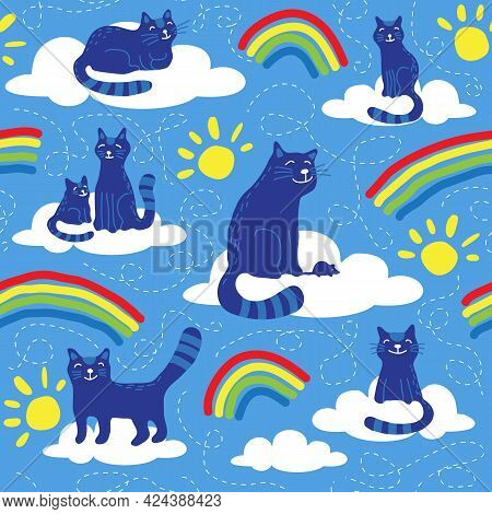 Seamless Pattern With Cats And Rainbow. The Souls Of Pets In Heaven. Vector Illustration. Flat Desig
