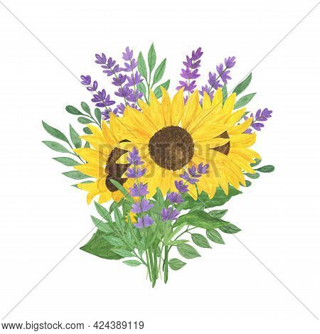 Bouquet Of Sunflower, Lavender, Leaves Watercolor Illustration, Floral Composition, Summer Plant Arr