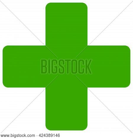 Veterinary Cross Icon With Flat Style. Isolated Vector Veterinary Cross Icon Image, Simple Style.