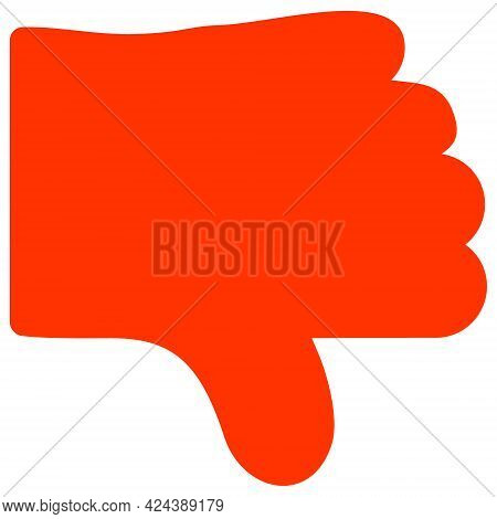 Dislike Thumb Icon With Flat Style. Isolated Vector Dislike Thumb Icon Illustrations, Simple Style.