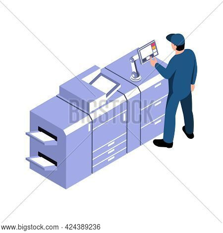 Technician Working With Printing Equipment Isometric Icon Vector Illustration