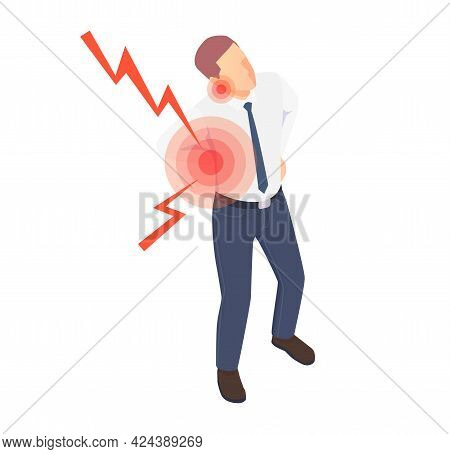Isometric Icon With Man Feeling Pain In Body Because Of Sedentary Lifestyle Office Work Vector Illus