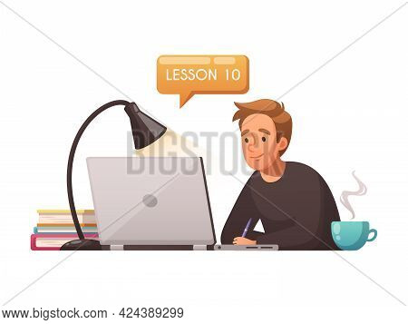 Cartoon Distance Education Icon With Boy Taking Online Lessons Using Laptop Vector Illustration