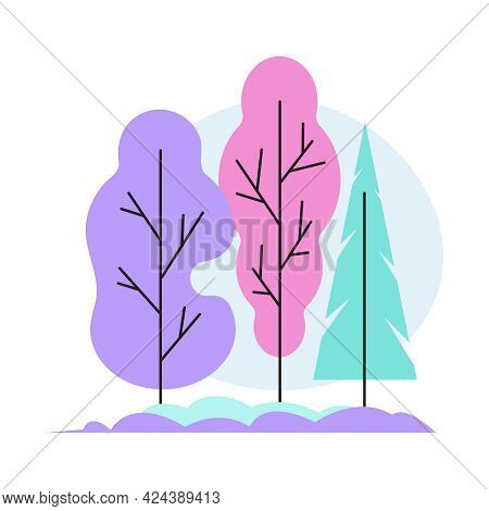 Flat Icon With Colorful Forest Foliage And Coniferous Trees Vector Illustration