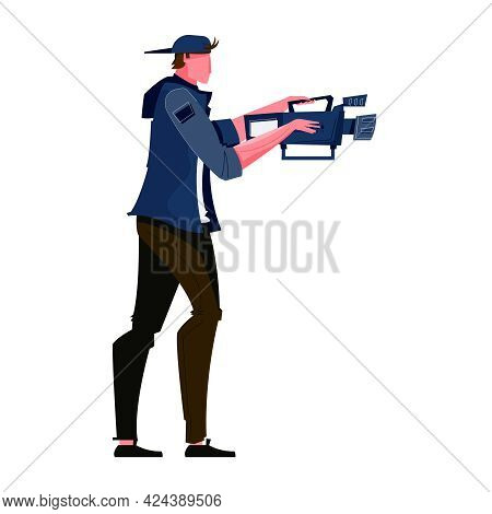 Cameraman At Work On White Background Flat Icon Vector Illustration
