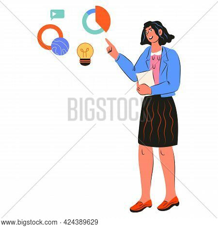 Business Woman In Formal Wear Pointing At Chats And Diagrams, Cartoon Vector Illustration Isolated O