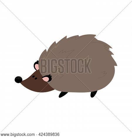 Cute Little Hedgehog Icon Vector. Brown Hedgehog
