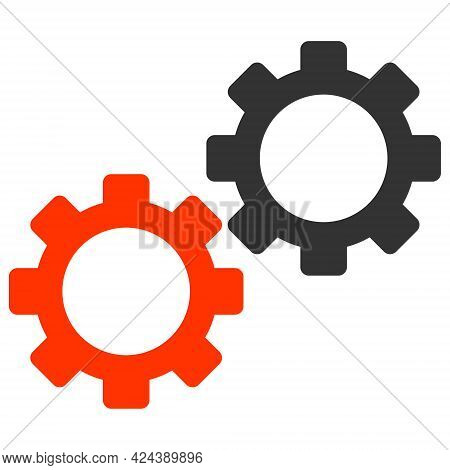 Gear Mechanics Icon With Flat Style. Isolated Vector Gear Mechanics Icon Image, Simple Style.