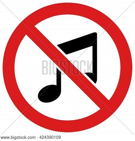 Forbidden Music Icon With Flat Style. Isolated Vector Forbidden Music Icon Illustrations, Simple Sty