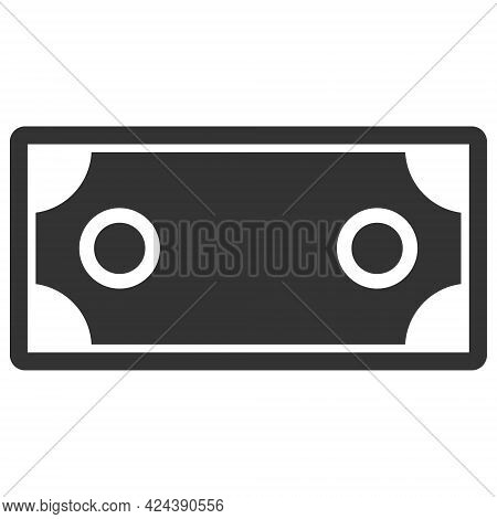 Banknote Template Icon With Flat Style. Isolated Vector Banknote Template Icon Image, Simple Style.