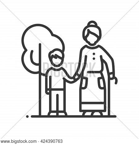 Grandmother Walking With A Grandson - Vector Line Design Single Isolated Icon