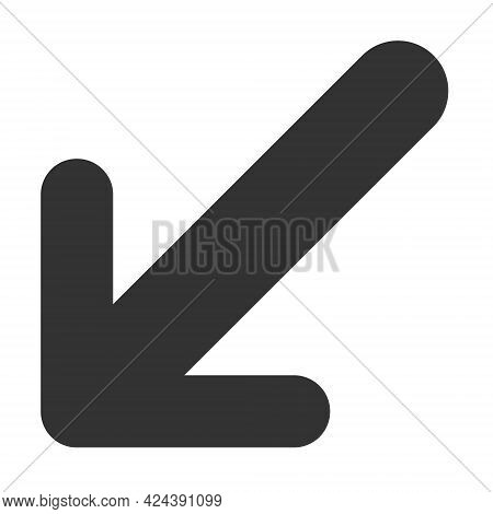 Arrow Down Left Icon With Flat Style. Isolated Vector Arrow Down Left Icon Image, Simple Style.