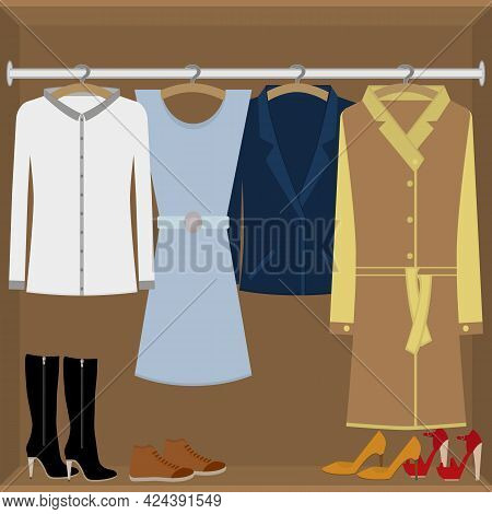 Women's Wardrobe. Women's Clothing And Shoes In The Closet. Vector Isolated Illustration In Flat Sty