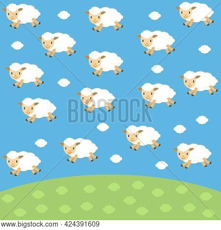 Cute Flying White Sheep In Shape Clouds On Sky Background. Set Funny Sheep For Baby And Kids. Cartoo