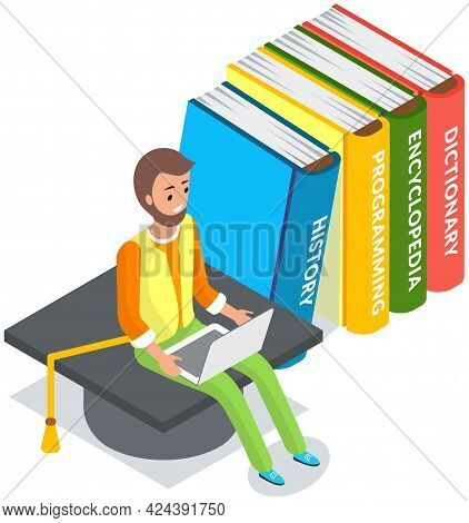 Online Education, Media Library, E-learning Isometric Vector. Student Typing On Keyboard. Distance L