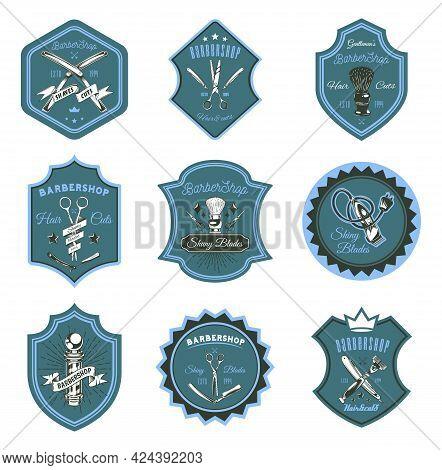 Logotype For Barbershop In Form Of Badge Or Label. Set Of Barber Shop Logo Design Emblems With Razor