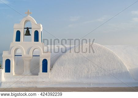 White And Blue Church Belfries And Volcano Caldera With Sea Landscape, Beautiful Details Of Santorin