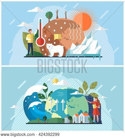 Set Of Illustrations About Climate Change, Rising Water Level, Global Warming, Ecological Problems.