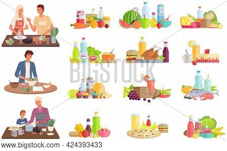 Set Of Illustrations About Proper Healthy Nutrition And Vegetarianism. Process Of Cooking Meals With
