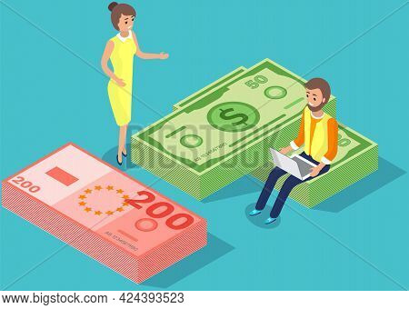 Money, Bills And Foreign Currency Concept. Businesspeople Are Doing Operations With With Finances. C