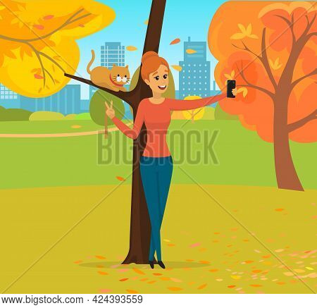 Girl Is Walking Outdoor And Taking Selfie On Background Of Park. Woman Is Photographed On Phone Came