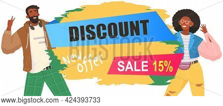 People On Online Shopping With Big Discounts. Best Discounts Up To Fifteen Percent In Online Store.