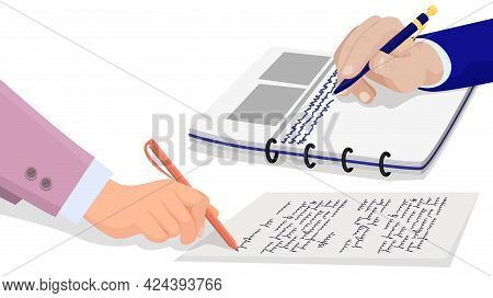 Hand Holds Pen And Writes Information In Notebook. Hand Of Person In Suit With Buttons And Shirt Sig