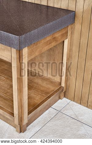 Furniture Set Of Veneer And Solid Ash Timber With Acrylic Solid Surface Countertop With Figure Edge
