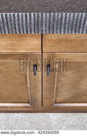 Kitchen Furniture Set Made Of Toned Veneer And Solid Ash Timber With Brown Acrylic Solid Surface Cou