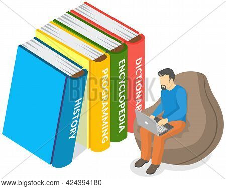 Online Library. Books In Your Laptop. Adult Man Love To Read Sits In Chair Near Large Books And Usin