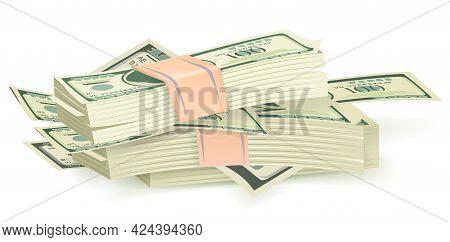 Cartoon Money Bills. Green Dollar Banknotes Cash Vector Icons. Cash Money Paper, Financial Pile Bank