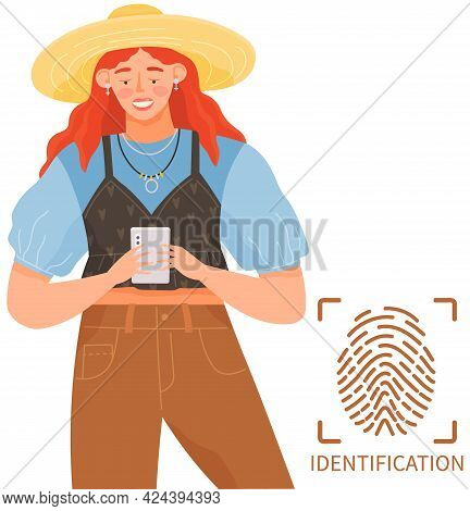 Woman With Smartphone Is Being Identified With Fingerprint. Person Using Device To Unlock Screen And