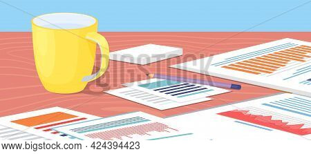 Creative Team Desktop, Documents With Information And Statistics, Stationery For People Working Toge