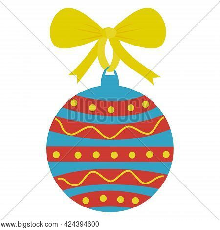 Decorate The Christmas Ball And Hang It On The Christmas Tree. A Colorful Ball With A Yellow Ribbon