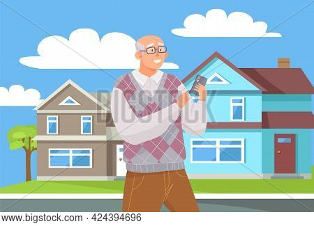 Old Man With Smartphone Is Communicating. Male Character Using Mobile Device During Walk. Elderly Ma