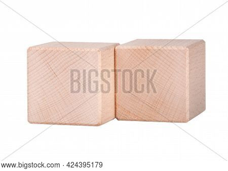 Two Wooden Cubes Or Cubics Isolated On The White For Create