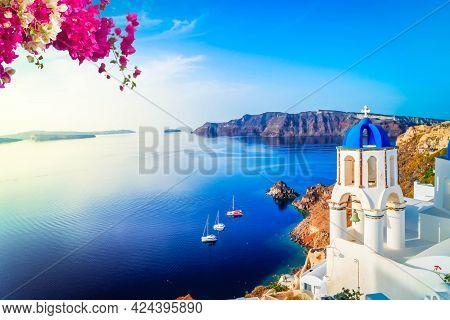 White Church Belfry And Volcano Caldera With Sea Landscape, Beautiful Details Of Santorini Island, G