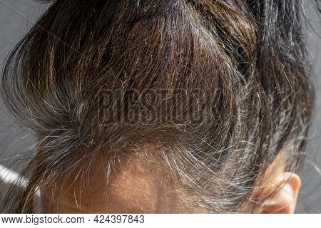 Close Up Of Middle Age Caucasian Woman With Dark Brown Hair And Regrown Gray Hair Roots