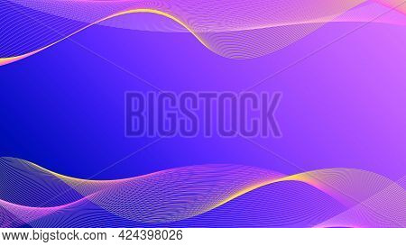 Swaying Wavy Lines Abstract Wave Background Pink And Blue With Yellow Stripes