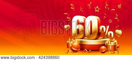 Up To 60 Off Sale Banner, Promotion Flyer, Gift Discount. Vector