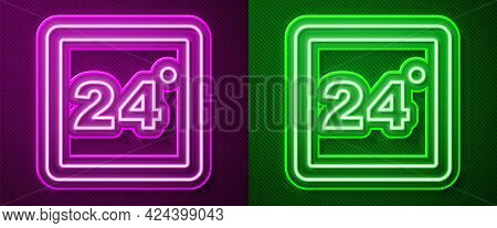 Glowing Neon Line Thermostat Icon Isolated On Purple And Green Background. Temperature Control. Vect