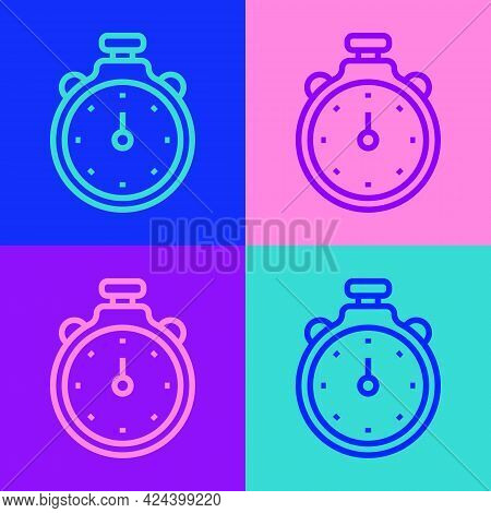 Pop Art Line Stopwatch Icon Isolated On Color Background. Time Timer Sign. Chronometer Sign. Vector